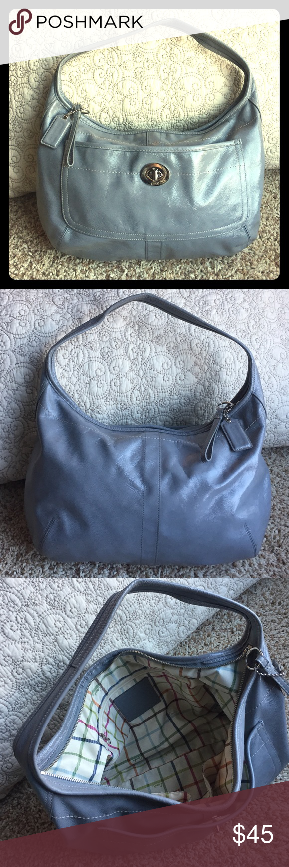 Coach Gray Patent Leather Purse Large Coach bag in grey. Cell phone pocket and two other pockets inside large interior. Coach Bags Shoulder Bags