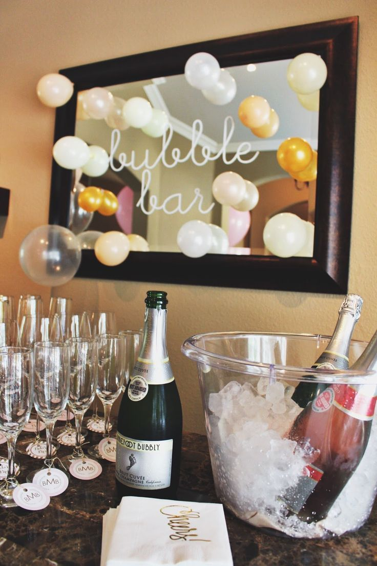 Sip and see baby shower pink and gold bubble bar mimosa bar