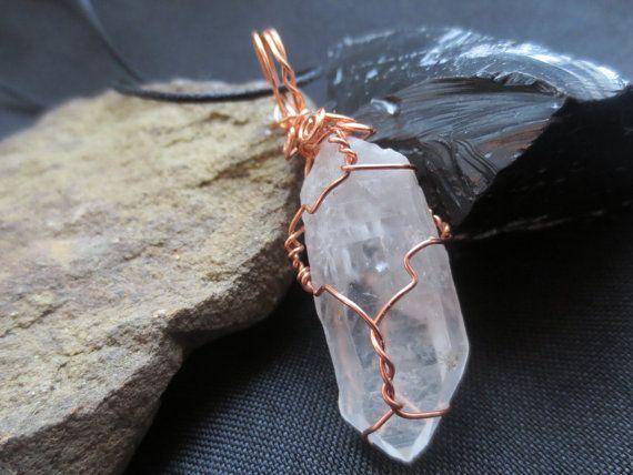 Copper WIre Wrapped Clear Quartz Crystal Point by DarkMoonBazaar