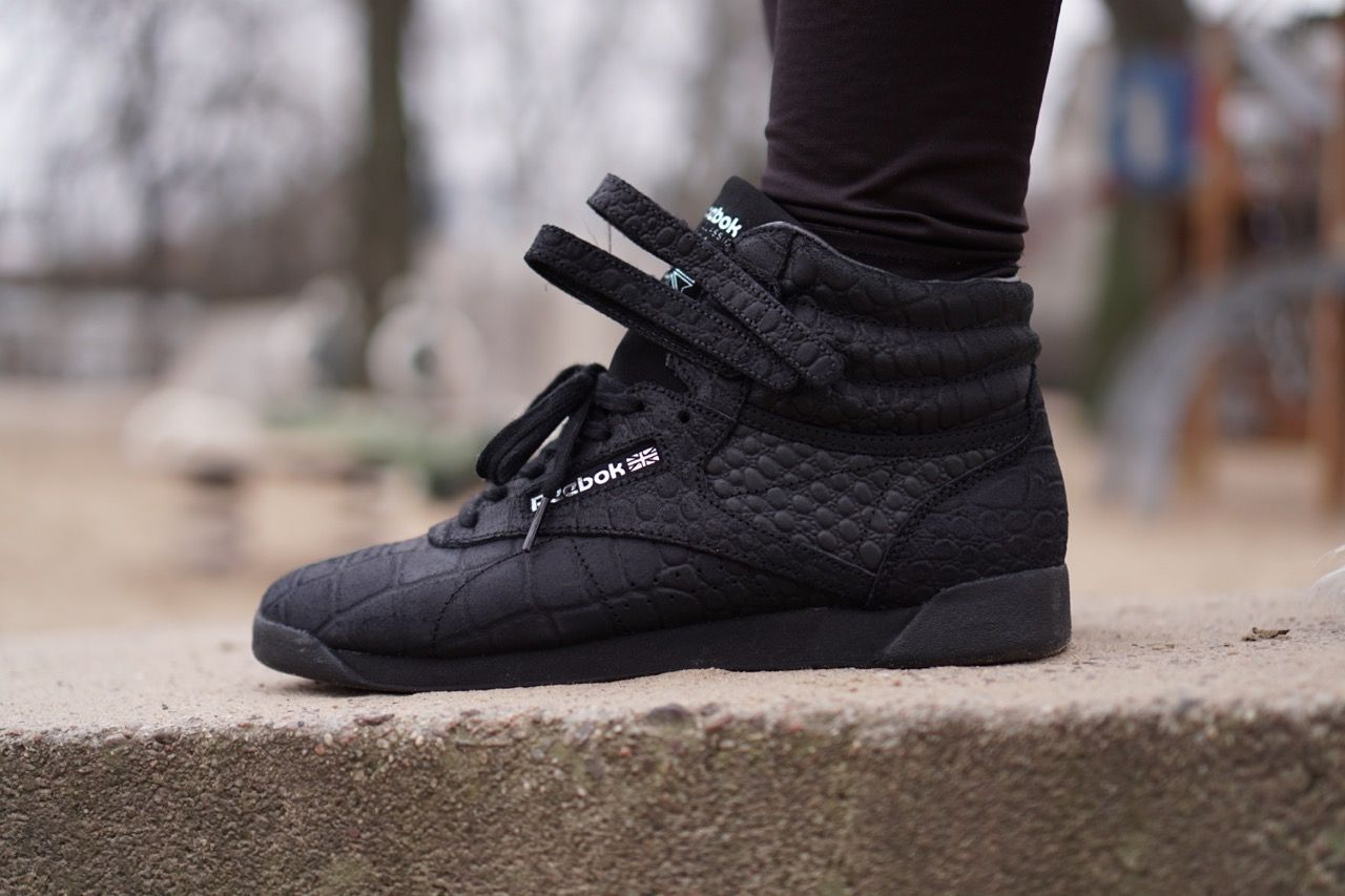 Reebok Freestyle Hi Trainers in Black  -Handmade