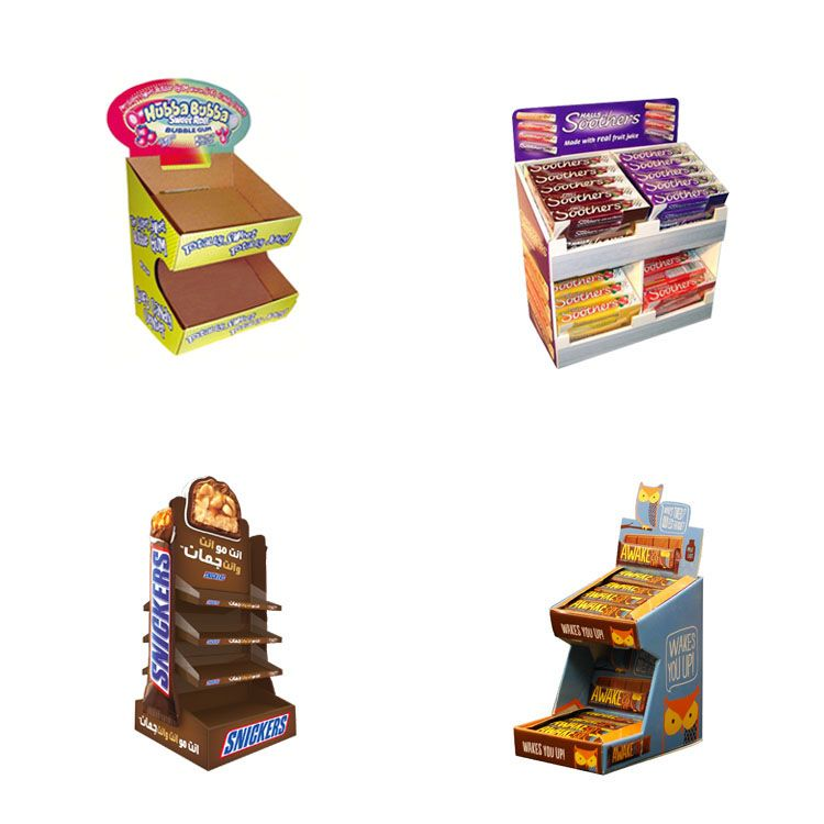 Custom Printing Cardboard Countertop Shelf Candy Displays Stand