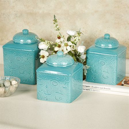 Savannah Turquoise Kitchen Canister Set
