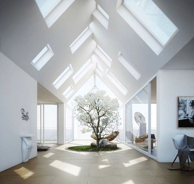 Skylights 22 beautiful naturally lit interiors 7 interiors pinterest skylight interiors - Skylight house plans natural light ...