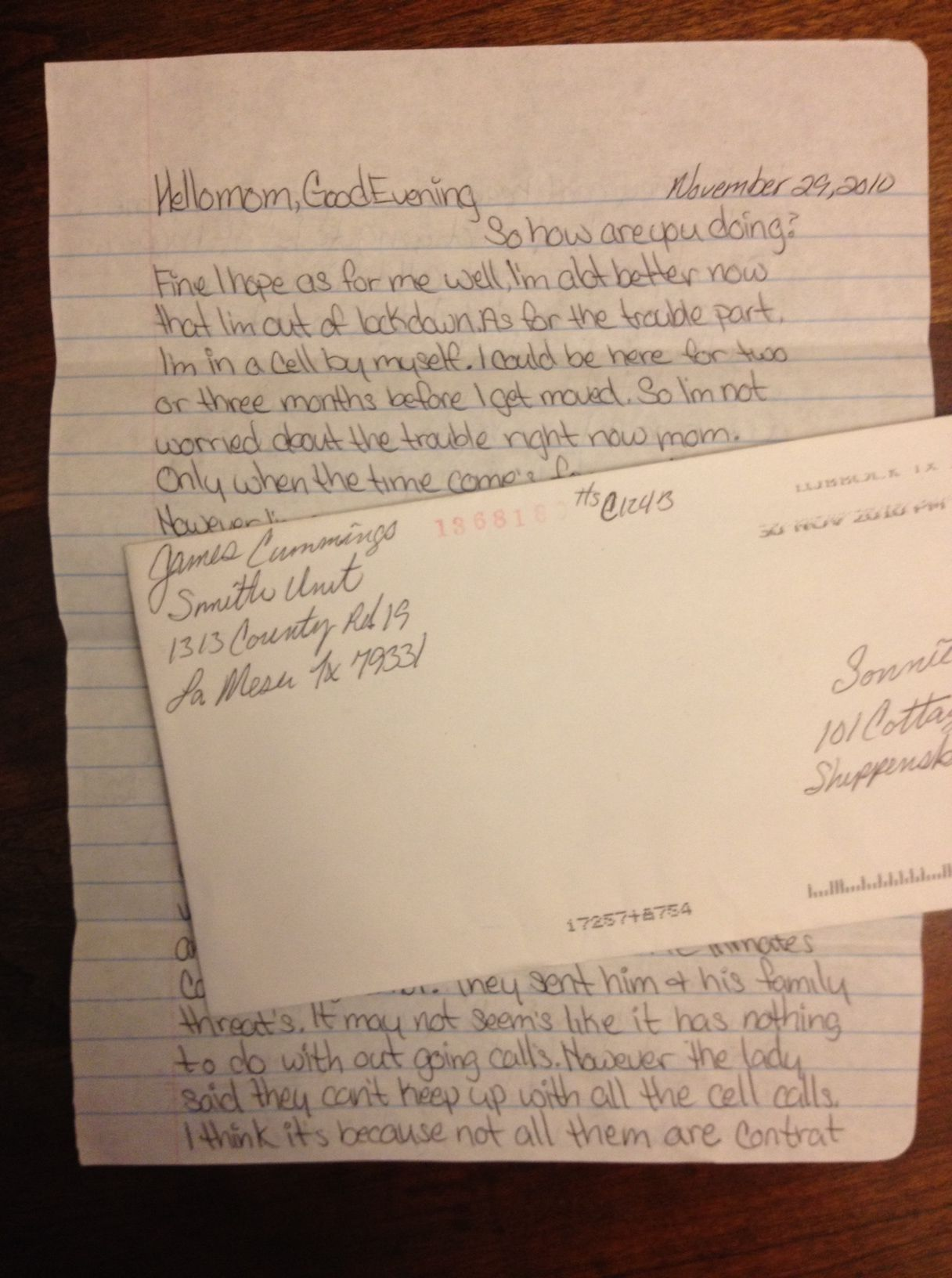prison letters inmate letters ad seg level G4