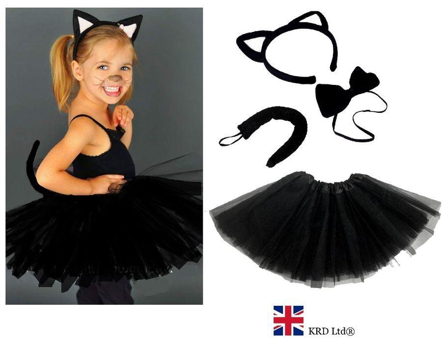 Girls WITCHES BLACK CAT Halloween Costume Fancy Dress TUTU Accessory Ears Set