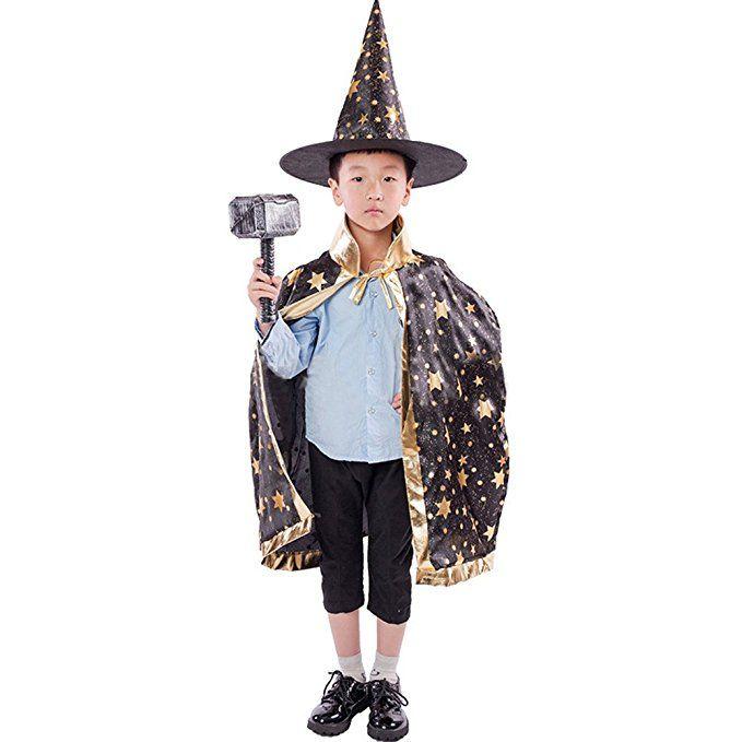 Kinder Halloween Kostüm,Hunpta Zauberer Hexe Umhang Kap Robe und Hut ...