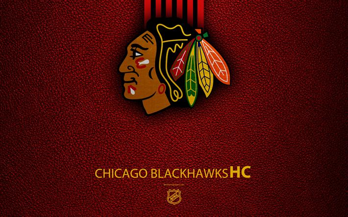 Download Wallpapers Chicago Blackhawks Hc 4k Hockey Team Nhl Leather Texture Logo Emblem National Hockey League Chicago Illinois Usa Hockey Western Chicago Blackhawks Hoquei Nhl