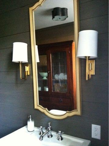 Blueprint Bliss Dark Powder Room Bathing Pinterest Powder - Gold bathroom sconces