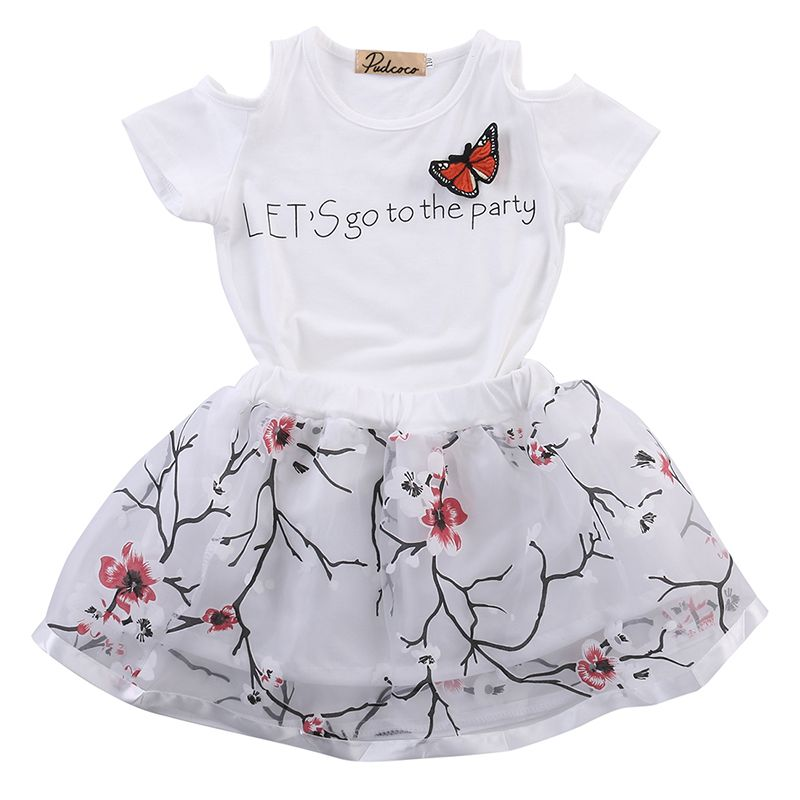 Baby Kids Girl Dress Short Sleeve Floral Top T-Shirt+Skirt Outfits Set Clothes