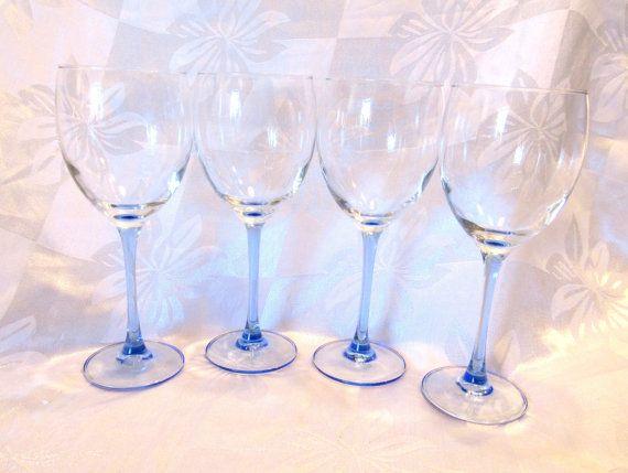 4 Luminarc Blue Stem Wine Glass Goblets By Vintageglassescape