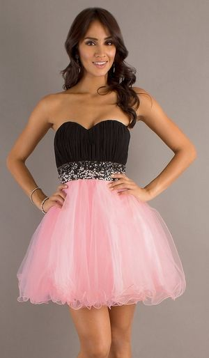 Short Poofy Black Pink Homecoming Dress Pleated Bodice Empire ...