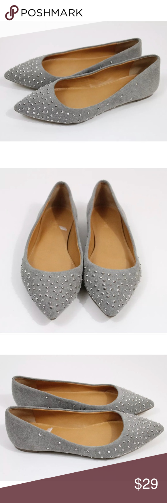 J.Crew 6 Grey Pointy Toe Studded Ballet Flats Size 6 Please see photos for best idea of condition j.crew Shoes Flats & Loafers