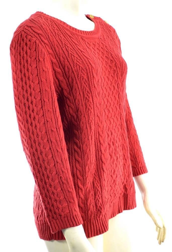 Winter Spring Women Tommy Hilfiger Tahitian Red Cable Knit Sweater ...