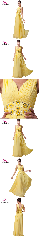 Grace karin plus size vneck beadings long yellow prom dresses