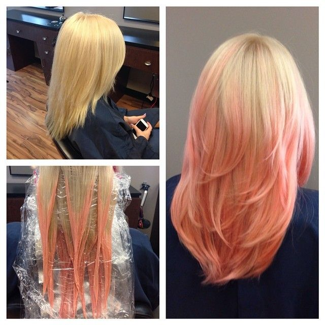 Balayage Ombre With A Fun Custom Pastel Coral Coral Hair