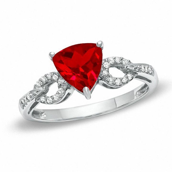 Zales 7.0mm Trillion-Cut Lab-Created Ruby and Diamond Accent Ring in Sterling Silver 5LsksTobMx