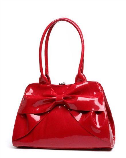 809f98fd79 Lux De Ville Lady Lux Kiss Lock Bow Bag Solid Red Retro Rockabilly  #LuxDeVille #ShoulderBag