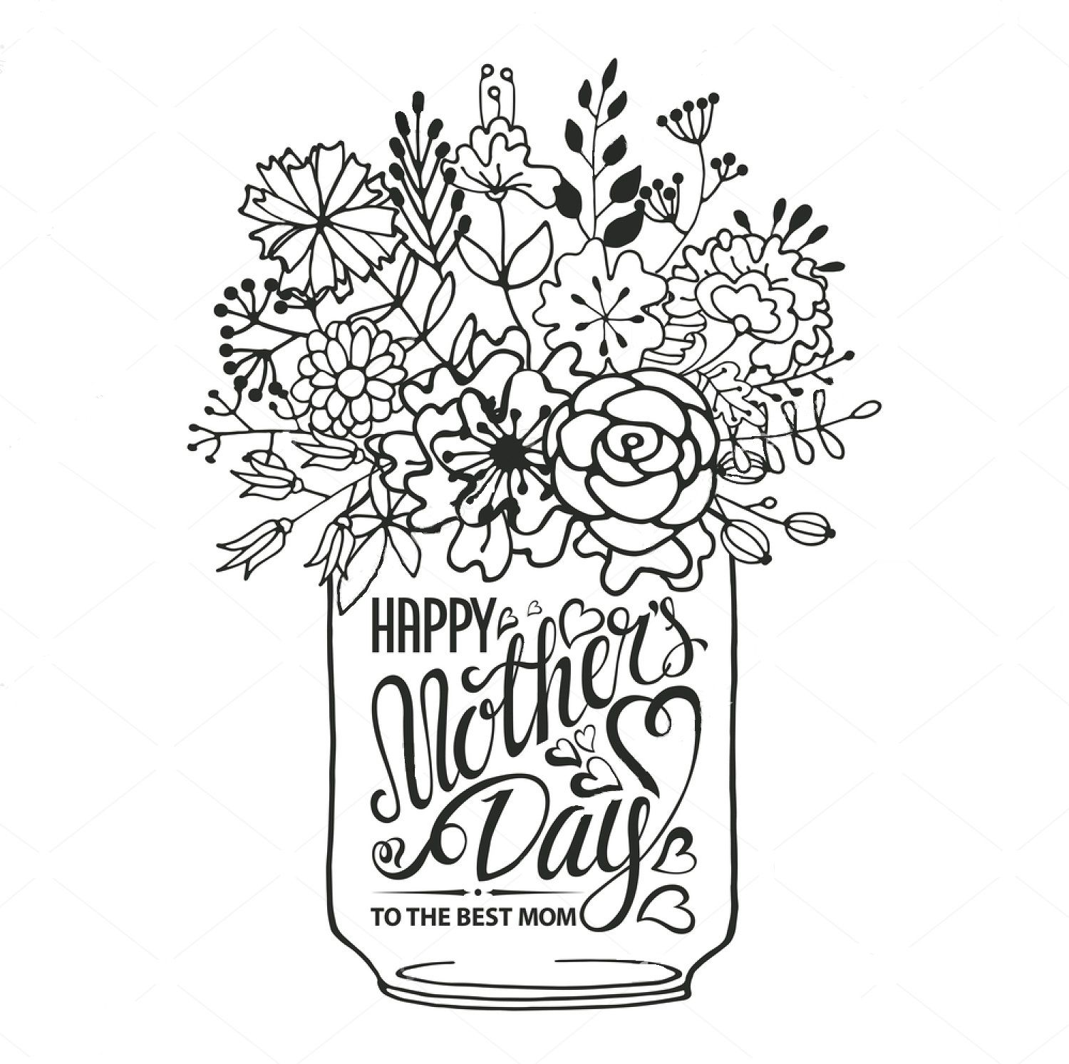 """Happy Mother's day"" zentangle coloring page Mother's"