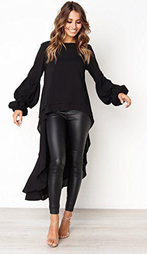 5fc9034d18e PRETTYGARDEN Womens Lantern Long Sleeve Round Neck High Low Asymmetrical  Irregular Hem Casual Tops Blouse Shirt