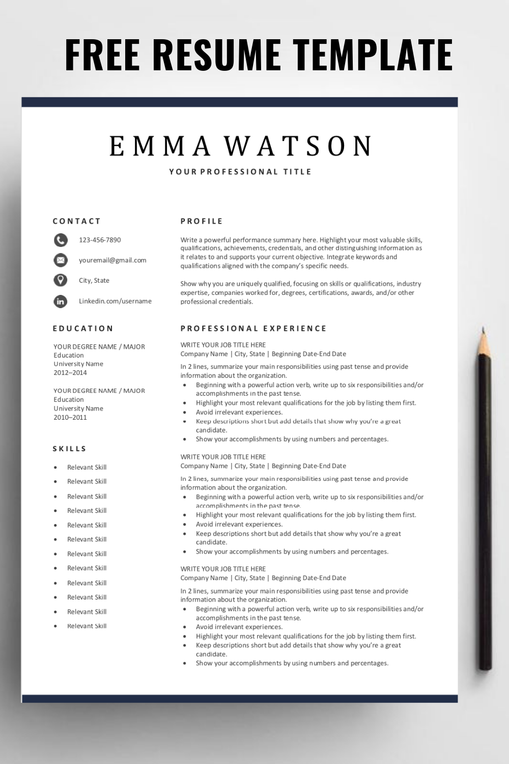 Are You Looking For A Free Editable Resume Template Sign Up For Our Job Search Tips And Down Resume Template Simple Resume Template Free Resume Template Word