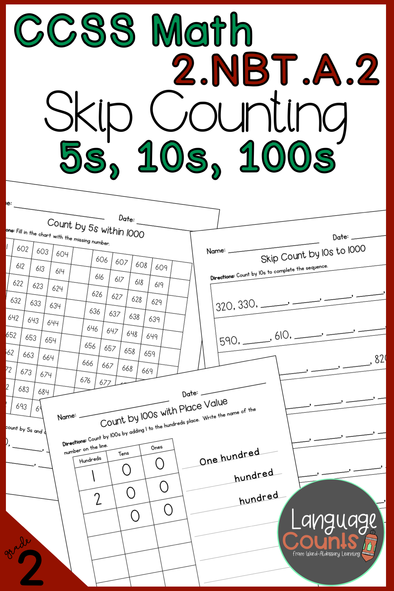 2nd Grade Skip Count By 5s 10s And 100s No Prep