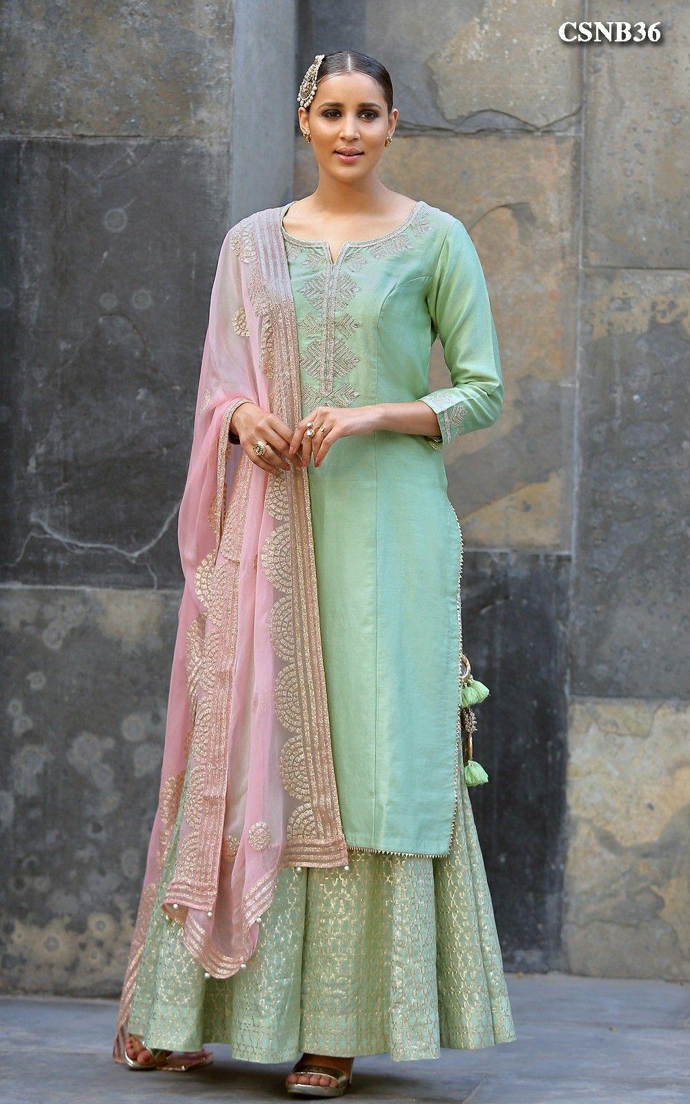 Indian women kurta kurti plazzo sharara dresses suits designer ethnic partywear