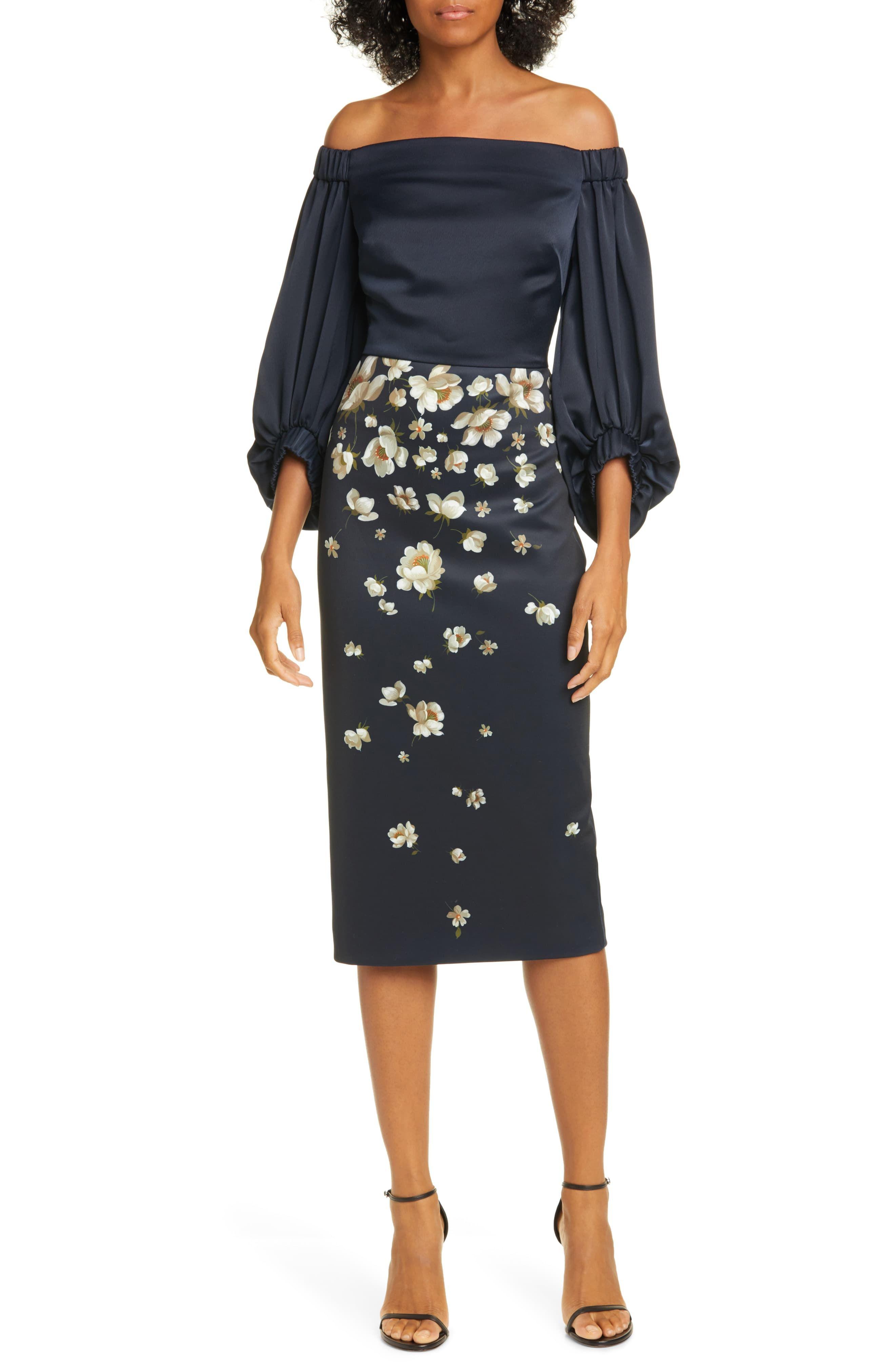 Frauen Ted Baker London Pearl Floral aus der Schulter Midi-Kleid, Größe 0 (passt wie 00 US) – Blau   – Products