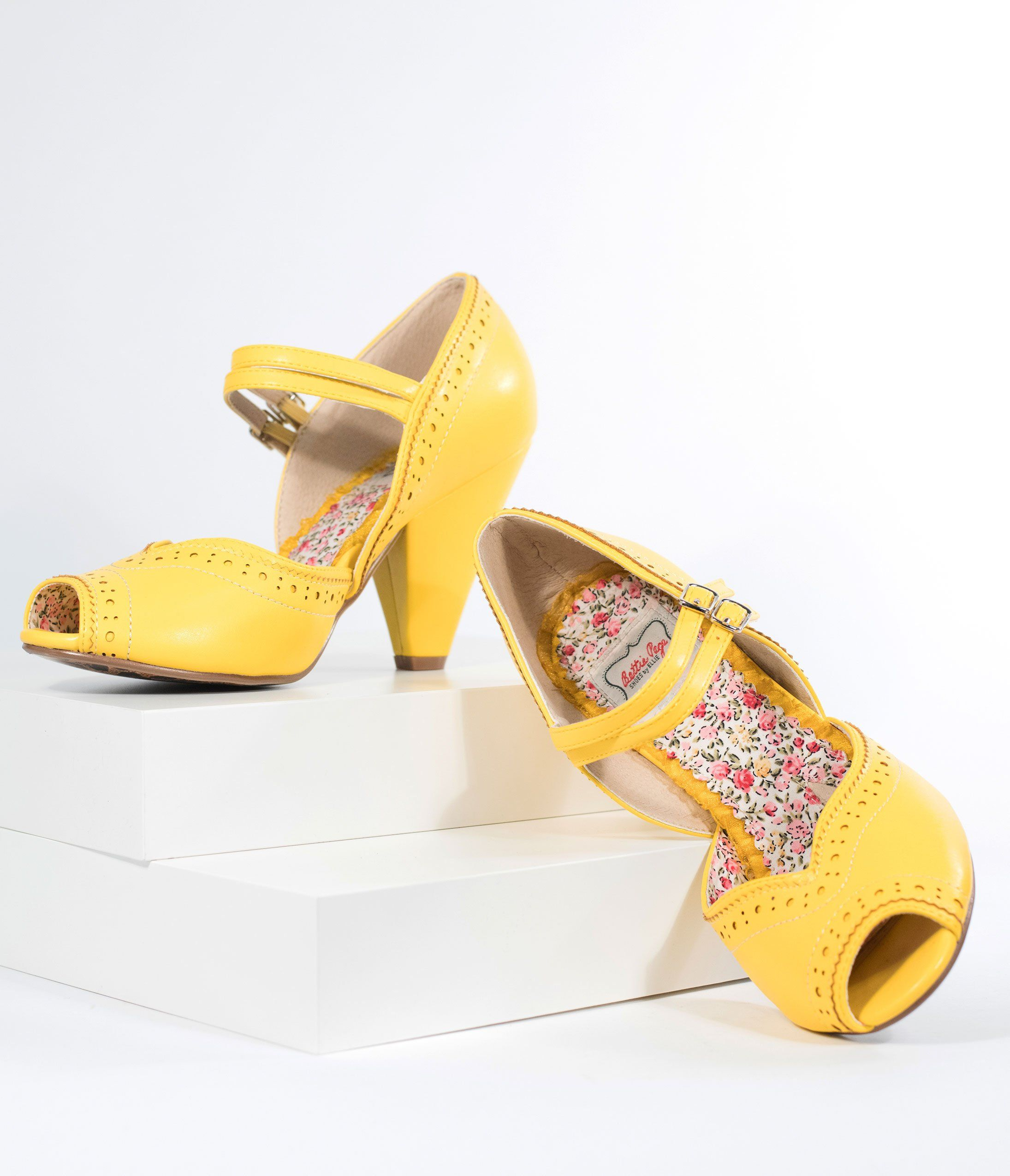22ba33cf8e77 Bettie Page Yellow Leatherette Peep Toe Double Strap Nellie Pumps in ...