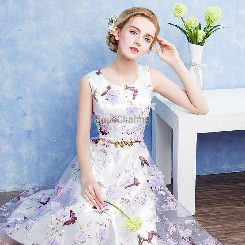 813b272cede robe blanche cocktail pour mariage en tulle motif papillon et fleurs avec  ceinture