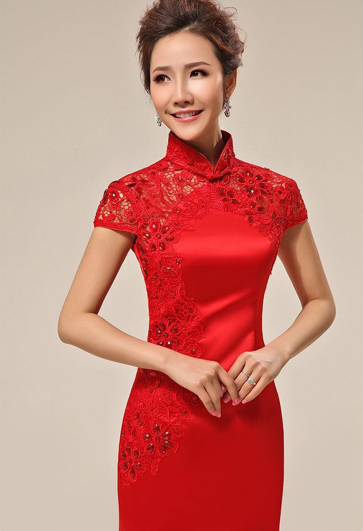 Red silk satin embroidery mini modern qipao short beaded Chinese ... 3c976068d73c