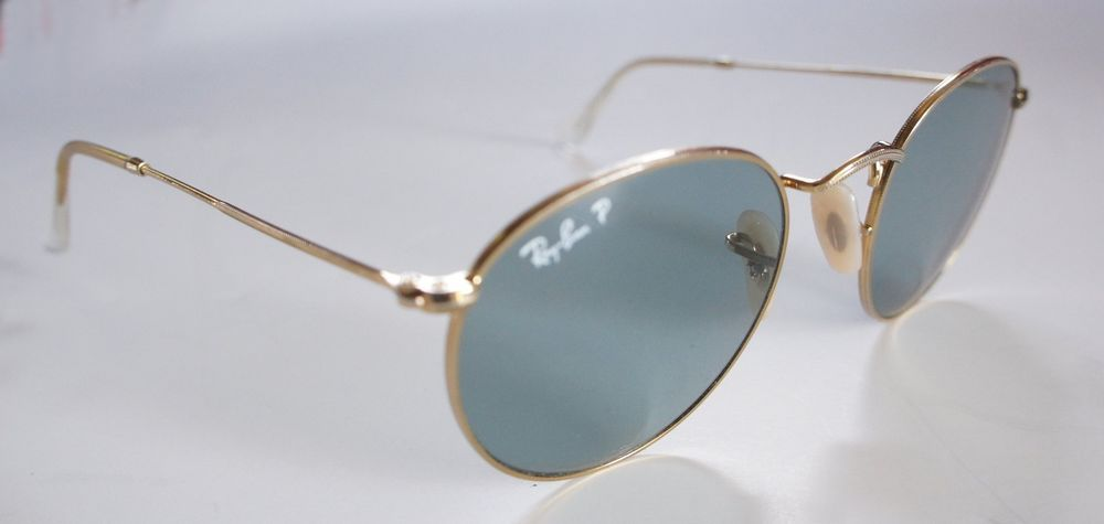 74cfe55fc Ray-Ban Polarized Arista Gold Tone Round Metal Sunglasses Green Lenses RB  3447