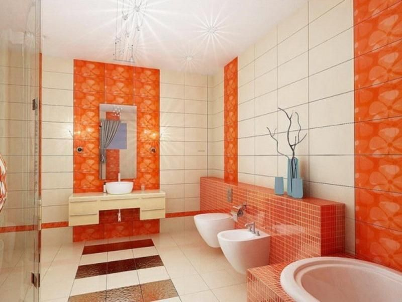 Flashy Orange Details Refreshing Attractive Bathroom Design : Stunning Bathroom  Color Schemes With Orange White Themes Combined With Contemporary Bathroom  ...