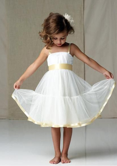 d23122bc6b24 white and gold flower girl dress. This would be cute with any color ...