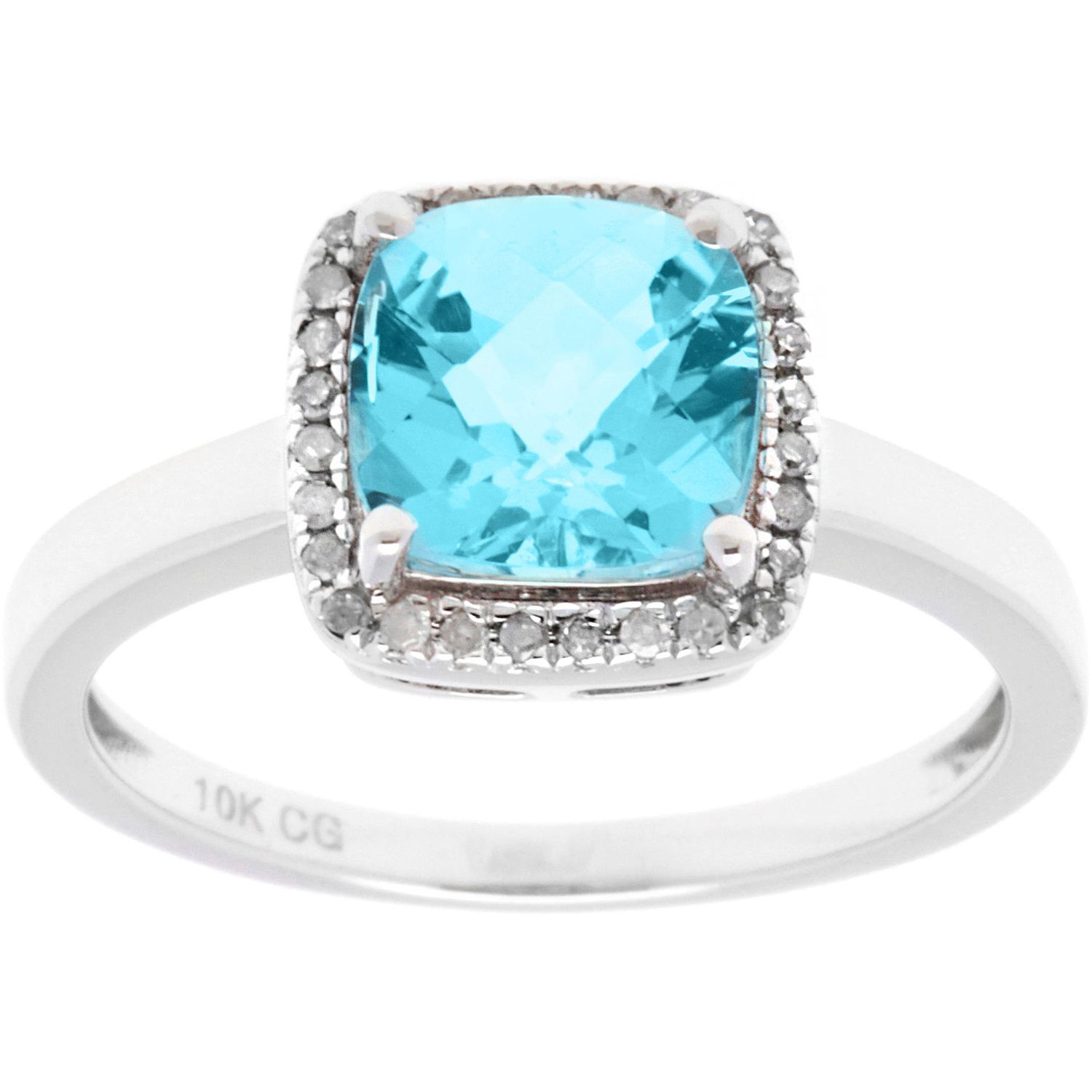 Color 10k White Gold 1/8ct TDW Diamond Halo and Checkerboard-Cut Gemstone Ring (G-H, I1-I2) (Blue Topaz, Size 8), Women's