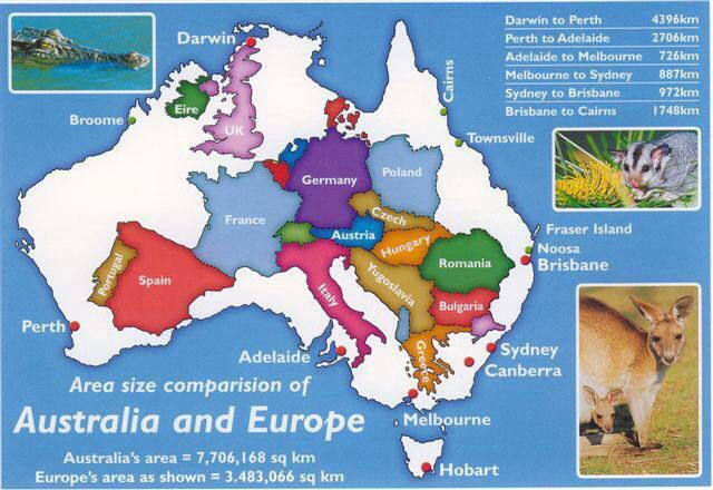 map of europe and australia Europe inside Australia diagram/map | Australia, Australia map
