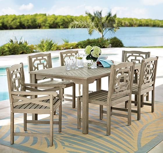 Martha Stewart Living™ Blue Hill 7 Piece Outdoor Dining Set · Wood  PatioPatio TablePatio .