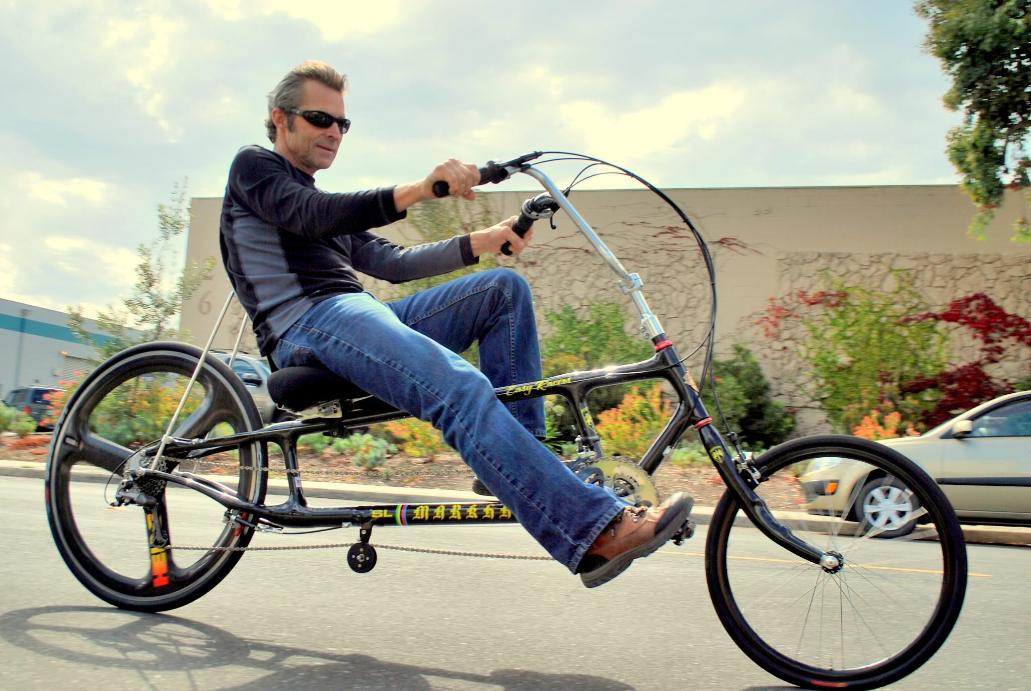 Fast Freddie Markham On Carbon Fiber Easy Racer Recumbent Bicycle Bicycle Ebike