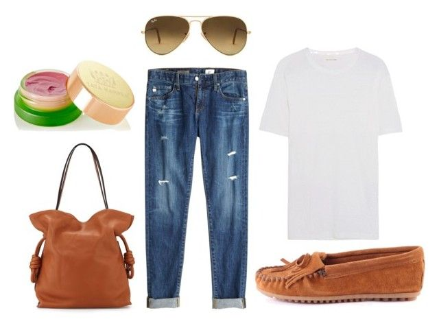 """""""transition to fall"""" by pinktogreen on Polyvore featuring Minnetonka, AG Adriano Goldschmied, Loewe, Étoile Isabel Marant, Ray-Ban and Tata Harper"""