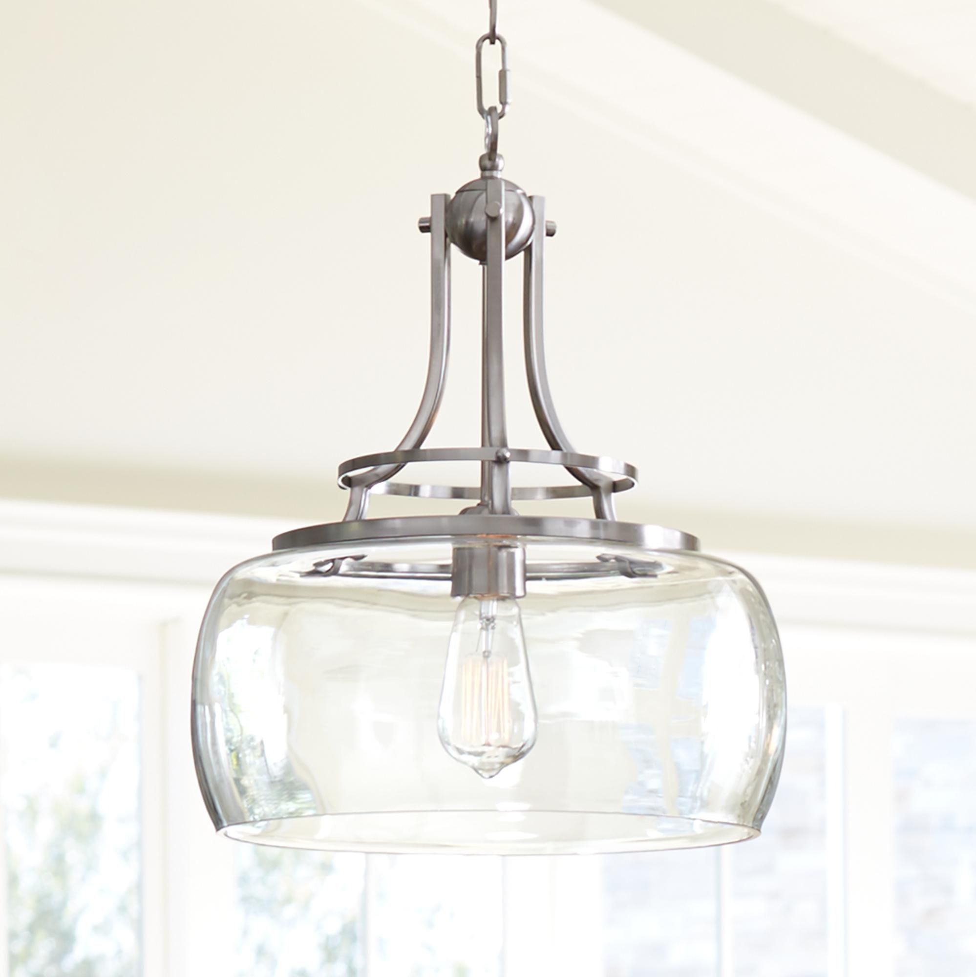 Charleston Wide Brushed Nickel Pendant Light Style