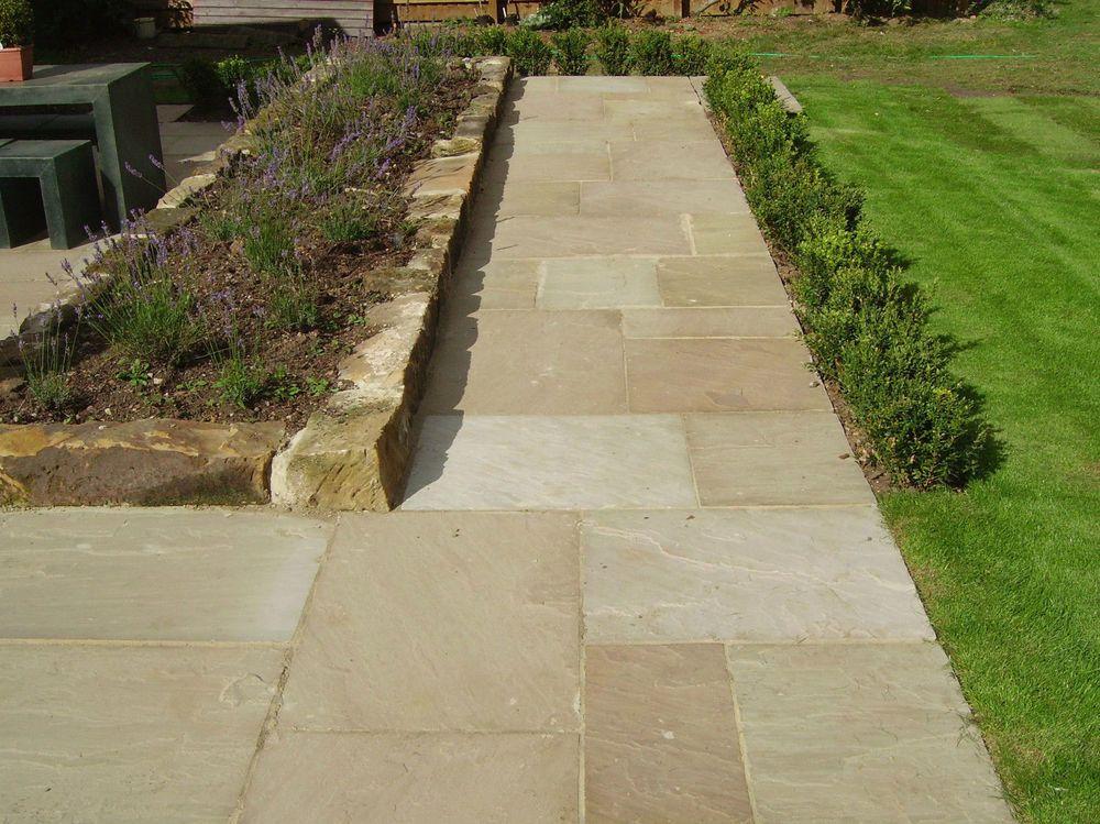 premium natural indian sandstone patio paving stone slabs 6 colours 1 sqm in garden