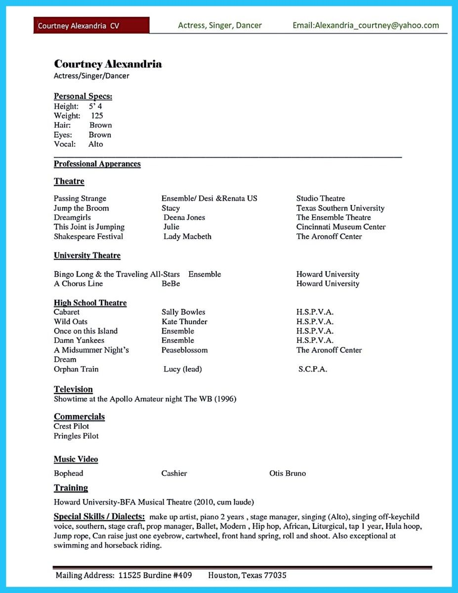 Nice Amazing Actor Resume Samples To Achieve Your Dream Check