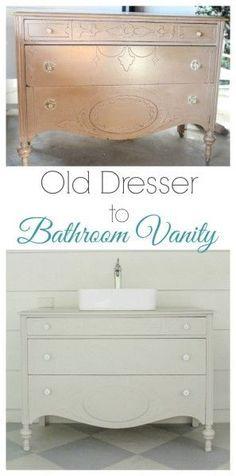 Vintage Dresser Bathroom Vanity Pinterest Dresser Bathroom - Cheapest way to redo bathroom