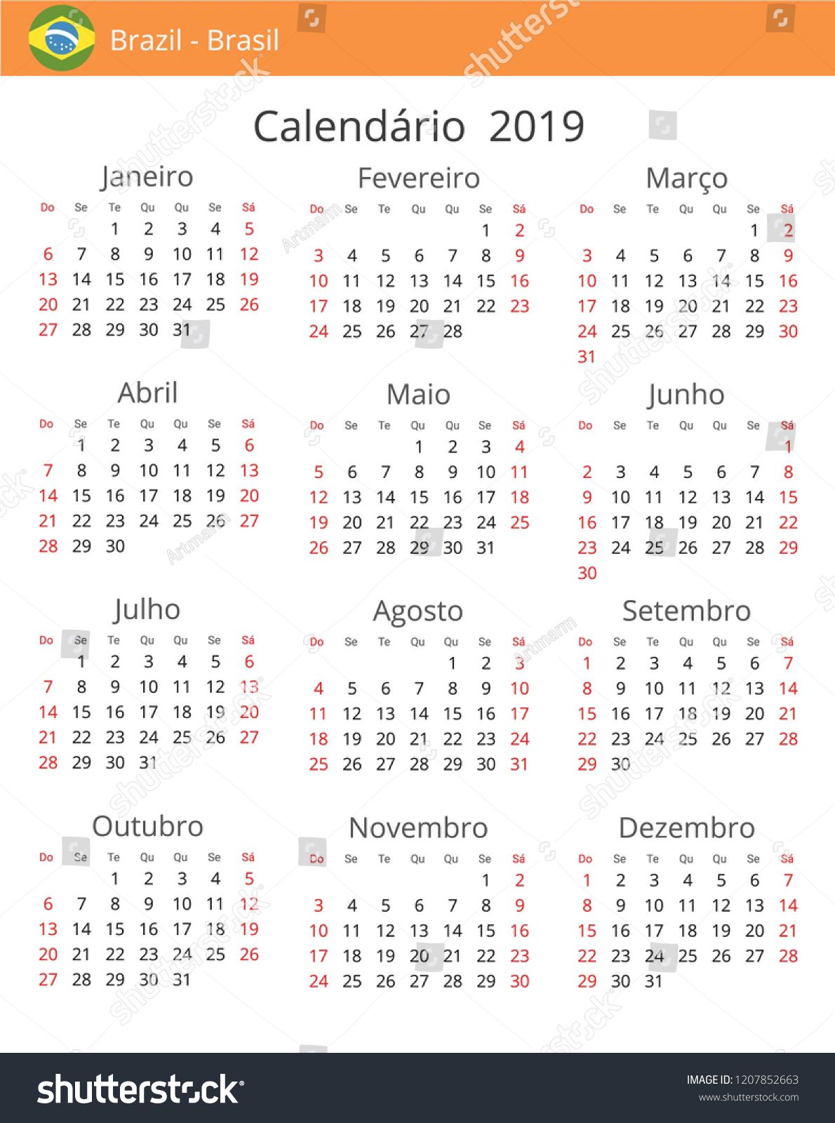 Calendar 2019 Year For Brazil Country Portuguese Language In A