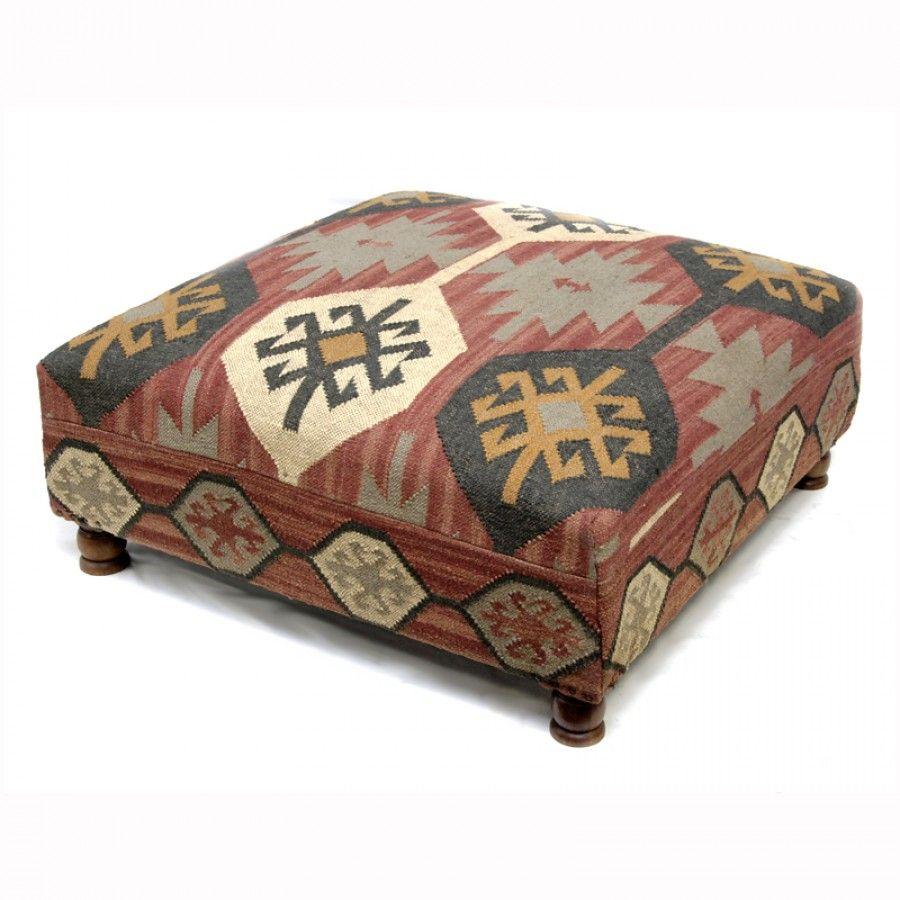 Kilim Upholstered Ottoman Coffee Table 1