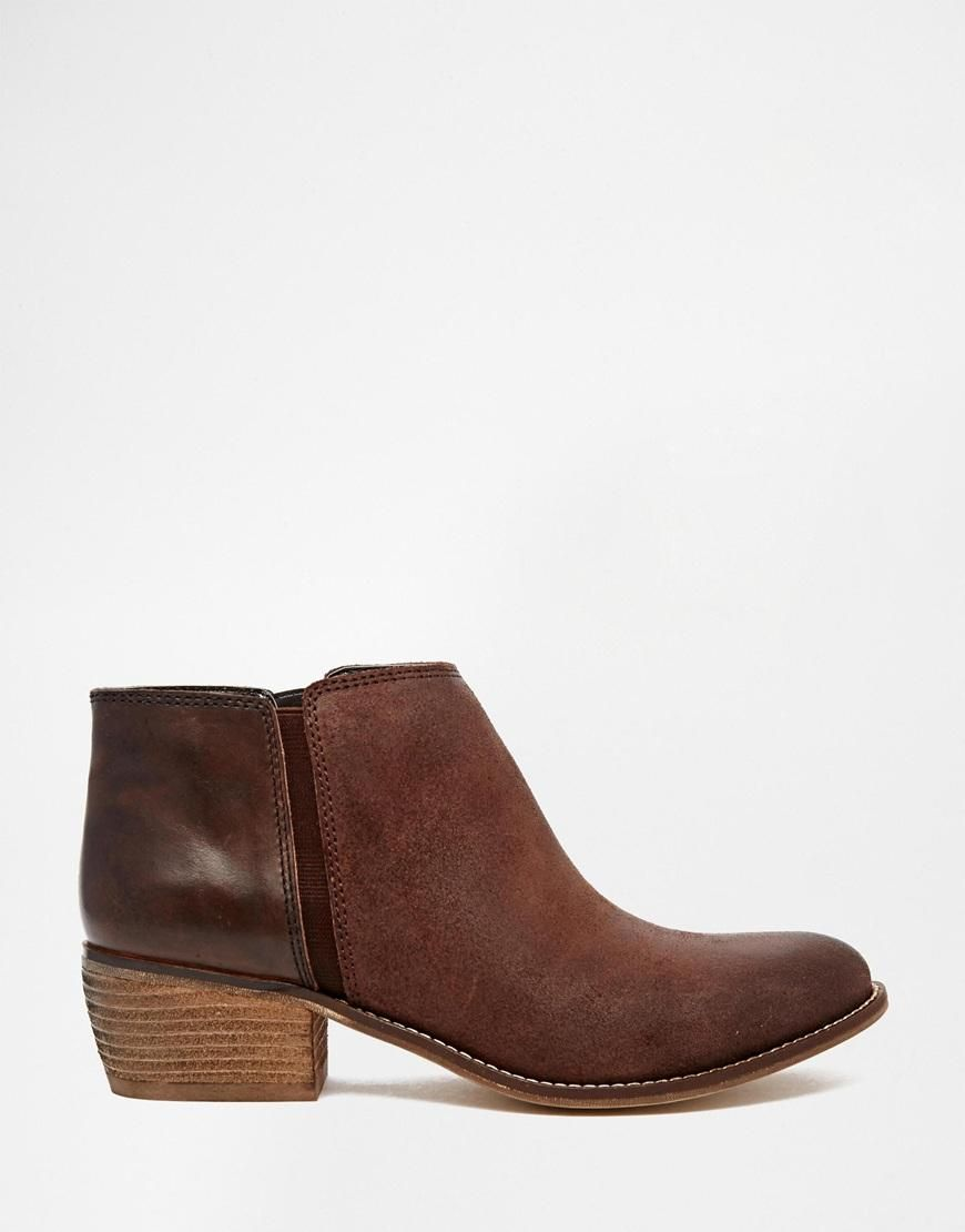 Dune Penelope Brown Leather Flat Ankle Boots