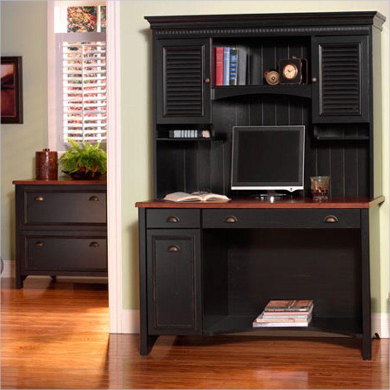 Bush Stanford 48 Computer Desk Set In Antique Black And Hansen Cherry