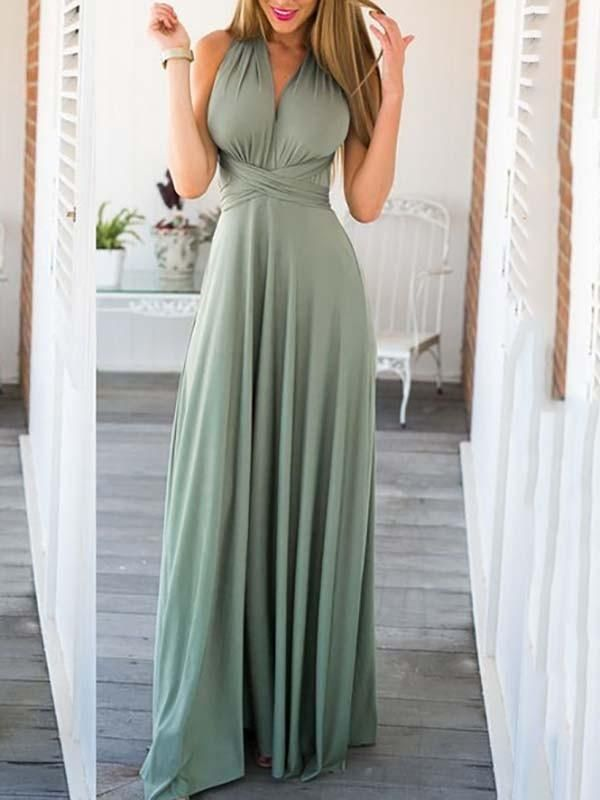 Photo of Green Backless Cross Back Flowy homecoming Party Going out S…
