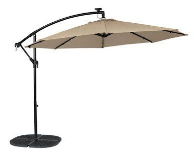 Living Accents Round 10 40 Led Market Umbrella W Stand Base Living