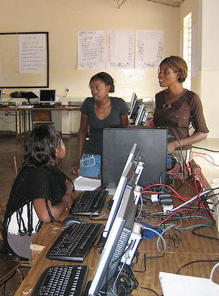 penelope teaching computer skills at it center in rural zambia - Sound Computer Skills