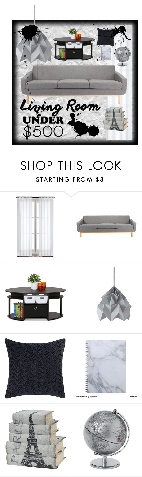 """Grey Paris"" by neverendingorphidian ❤ liked on Polyvore featuring interior, interiors, interior design, home, home decor, interior decorating, Furinno, Betsey Johnson, livingroom and under500"
